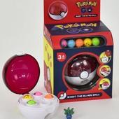 Мяч Покемон стреляет шариками 5 шт. в наборе с фигуркой-сюрпризом, много лотов