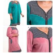 Велюровый халат для дома розовый и голубой. Рукав 3/4. Размеры 46-50 Полномерные