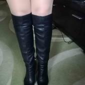 Продам полностью кожаные сапоги-ботфорты