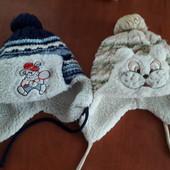 Две шапки на овчинке для младенца.