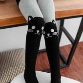 Махровые колготы для девочки с котиком.Колготки тёплые на девочку зимние модные с кошечкой Лот-1 шт.