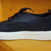Женские мокасины хайтопы 36 38 эко кожа темно синий цвет на шнурках