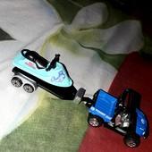 ☆Как новые☆Машина спасателя с водным мотоциклом!Метал:машина+прицеп,мотоцикл-качественный пл