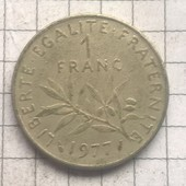 Монета Франции 1франк 1977