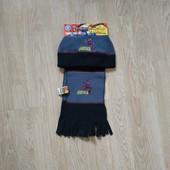 Комплект деми или теплая зима флисовая шапка и шарф marvel со спайдерменом на мальчика 4-6 лет