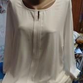 Блузка туника белого цвета(спереди шёлк) на 58(укр.)