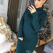Вязаное платье миди качество отличное