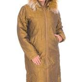 женское пальто на синтепоне! зима! распродажа! мех остегивается 46 48 50 р.,до 55 см ПОГ с капюшоном