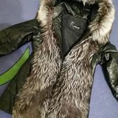 Куртка-жилетка натуральная кожа с натуральным мехом,быстрая отправка