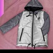 Серебряная демисезонная куртка на синтипоне