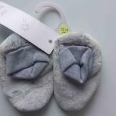 F&F тапочки топики теплые носочки пинетки 6-9-12м плюшевые мягкие нескользящие новые