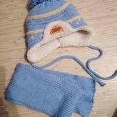 Теплый комплект шапка и шарф 9-12 мес