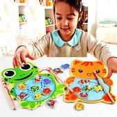 """Развивающая деревянная магнитная игра рыбалка """" Котик и Жабка""""!! на выбор!"""