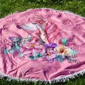 Круглый плед коврик с бахромой