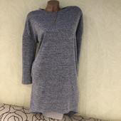 Шикарное тепленькое платье меланж с карманами