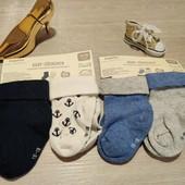 Германия!!! Лот из 4 лёгких коттоновых носков для мальчика! 15-18 размер!
