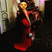 Бомбезное платье шлейф красное