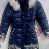 Очень теплое пальто для девочки р.146-152