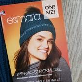 Женская термо шапка на флисе изумрудного цвета esmara