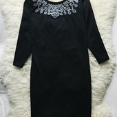 Качество!Стильное черное платье/вышивка стеклярусом вокруг горловины,от Atmosphere в новом состоянии