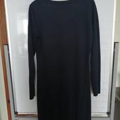 Трикотажное, котоновое темно-синее платье. Размер L(48)