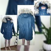 Состояние новой! Деми Куртка Mark's and Spancer indigo красивого цвета 14 размер