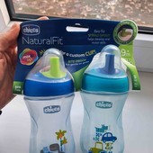 Поїльник - непроливайка для хлопчика chicco Natural Fit 260ml, 9міс +