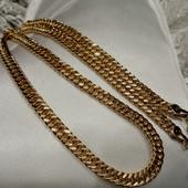 мощная цепочка, красивое плетение - панцирное, 50 см, позолота 585 пробы