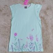 Блиц-цена! Классная фирменная футболка Garden от Рерсо! на 6-7 лет рост 122! хлопок! шиммер!