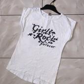 Стоп! ❤С Блестящим принтом Фирменная футболочка,7-8 лет❤Собирайте лоты,экономьте на доставке