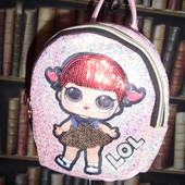 Рюкзак для девочки LOL в персиковых тонах, паетка, блестки