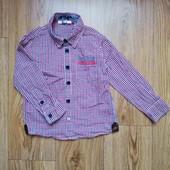 рубашка рубашечка с длинным рукавом в клетку на мальчика 2-4 года