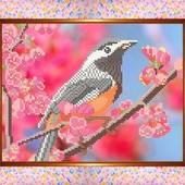"""Схема для вишивки бісером А 4 """"Весняний птах"""" тканина атлас"""