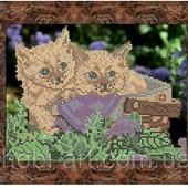 """Схема для вишивки бісером А 4 """"Кошенята в кошику"""",тканина атлас"""