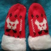 детские рукавички варежки на меху на 2-3года. 2 пары в лоте любой цвет