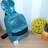 Милый рюкзак с ушками. Отличное качество. Переливается. Цвет бирюза. Последний!