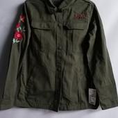 Куртка ветровка милитари с вышивкой французского бренда Kiabi, 16 лет, рост 158-164