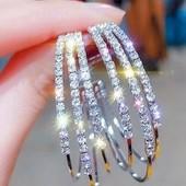 Многослойные, круглые серьги-кольца Kaitin Jewelry, золотого цвета со стразами