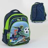 Много детских лотов Рюкзак школьный Футбол 2 отделения, 3 кармана, ортопедическая спинка