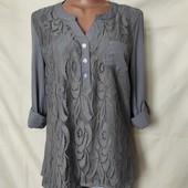 Шикарная фирменная блузочка с удлиненной спинкой,L