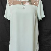 Бирюзовая блузочка с кружевом с удлиненной спинкой, грудь-96