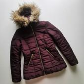 Теплая зимняя стеганая куртка с капюштном красивого шоколадного цвета H&M, рвзмер S/M