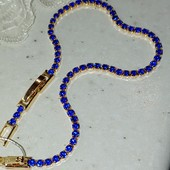 новинка! шикарный браслет, весь в синих фианитах, длина 17/19 см, позолота 585 пробы