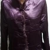 Атласный теплый халатик- курточка с натуральным мехом, ПОг53, сост.идеальное