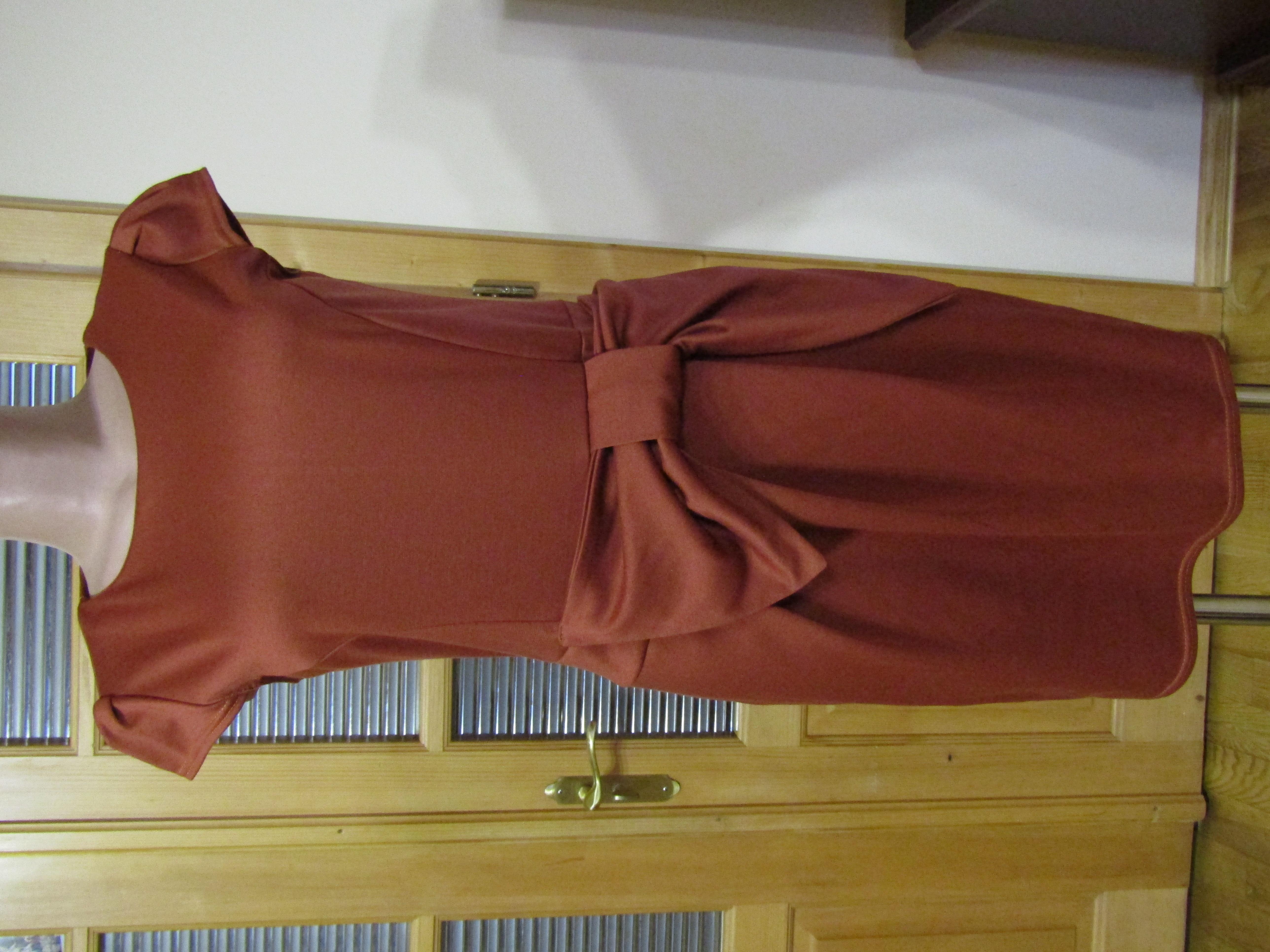Платье с бантом, французский трикотаж, М-Л