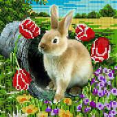"""Схема для часткової вишивки бісером формат А4 """"Кролик"""""""