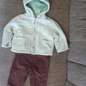 Комплект из флисовый утепленной курточки и вельветовые штанишек