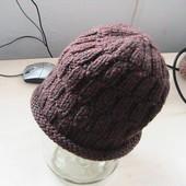 скидка на УП 10%!! шапка коричневая 56-58р (помпон на выбор)