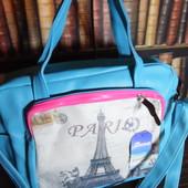 Большая голубая сумка Париж. Поместится ноутбук, документы. читайте