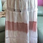 Новая!Юбка 100% х/б из дорогого бутика Европы,цвет розовый с белым,р.л-ххл,смотрите замеры